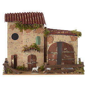 Nativity setting, farmhouse with white sheep 20x28x15cm s1