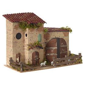 Nativity setting, farmhouse with white sheep 20x28x15cm s3
