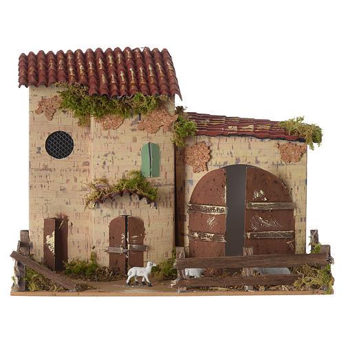 Nativity setting, farmhouse with white sheep 20x28x15cm 1