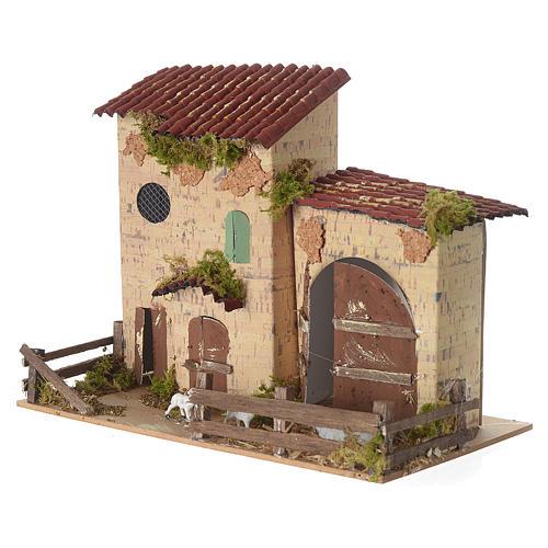 Nativity setting, farmhouse with white sheep 20x28x15cm 2