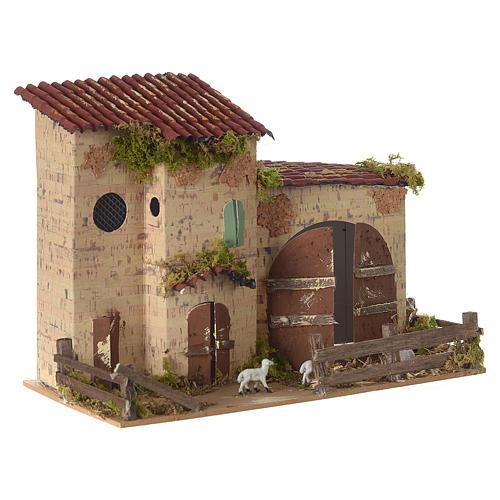 Nativity setting, farmhouse with white sheep 20x28x15cm 3