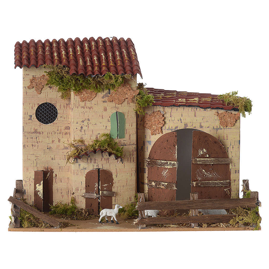 Nativity setting, farmhouse with white sheep 20x28x15cm 4