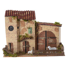 Nativity setting, farmhouse with white sheep 20x28x15cm s4