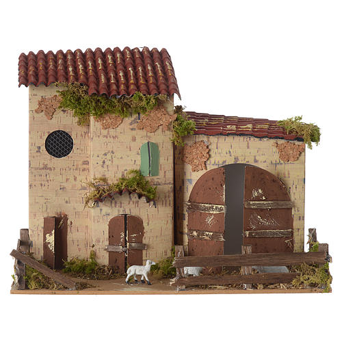 Nativity setting, farmhouse with white sheep 20x28x15cm 1