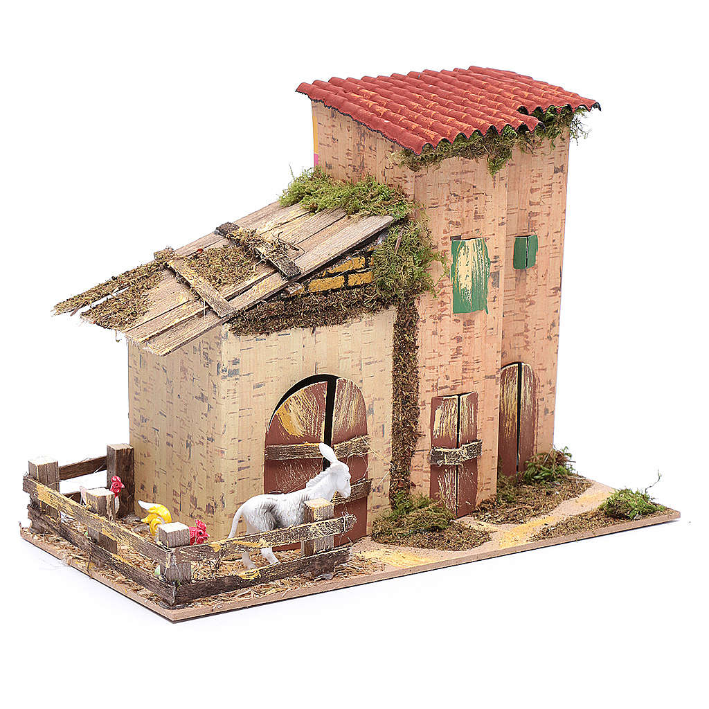 Abgelegenes Haus mit Geflügel und Esel 20x28x15 cm 4