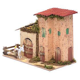 Abgelegenes Haus mit Geflügel und Esel 20x28x15 cm s2