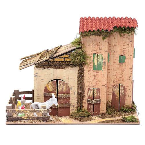 Abgelegenes Haus mit Geflügel und Esel 20x28x15 cm 1