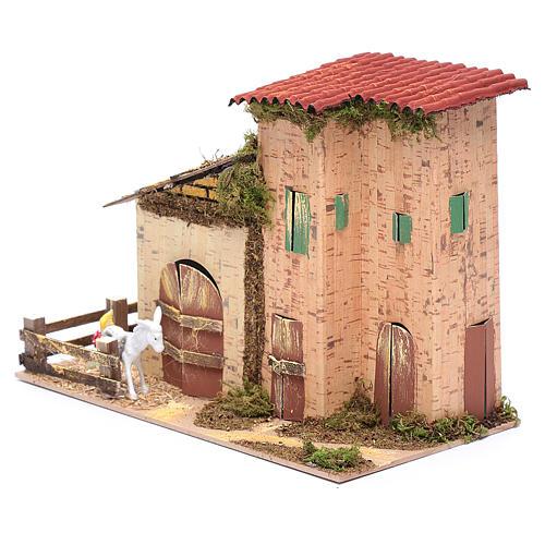 Abgelegenes Haus mit Geflügel und Esel 20x28x15 cm 2