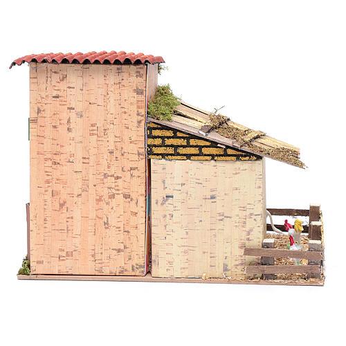 Décor crèche ferme avec coq et âne 20x28x15 4