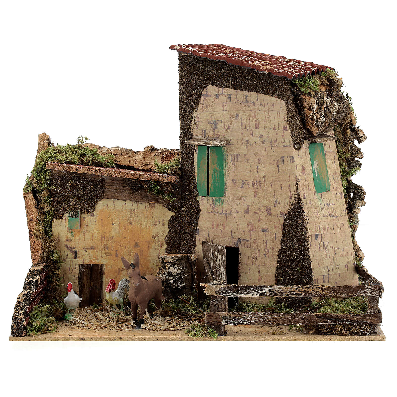 Nativity setting, farmhouse with gallinaceans and donkey 20x28x1 4