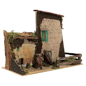 Nativity setting, farmhouse with gallinaceans and donkey 20x28x1 s3