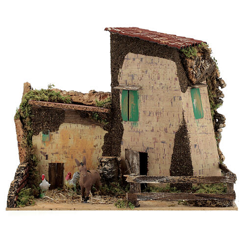 Nativity setting, farmhouse with gallinaceans and donkey 20x28x1 1