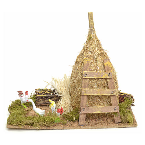 Nativity setting, haystack 12x20x12cm with gallinaceans 1