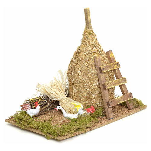 Nativity setting, haystack 12x20x12cm with gallinaceans 2