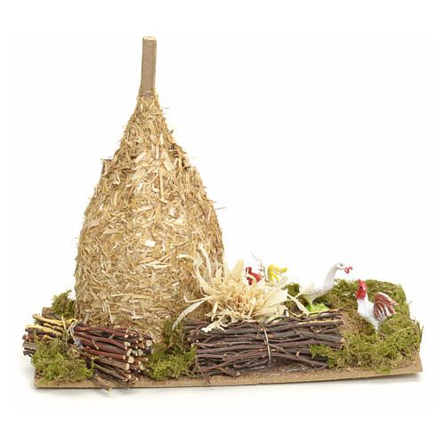Nativity setting, haystack 12x20x12cm with gallinaceans 3