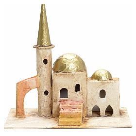Maisons, milieux, ateliers, puits: Décor crèche minaret avec tour 18x19x11