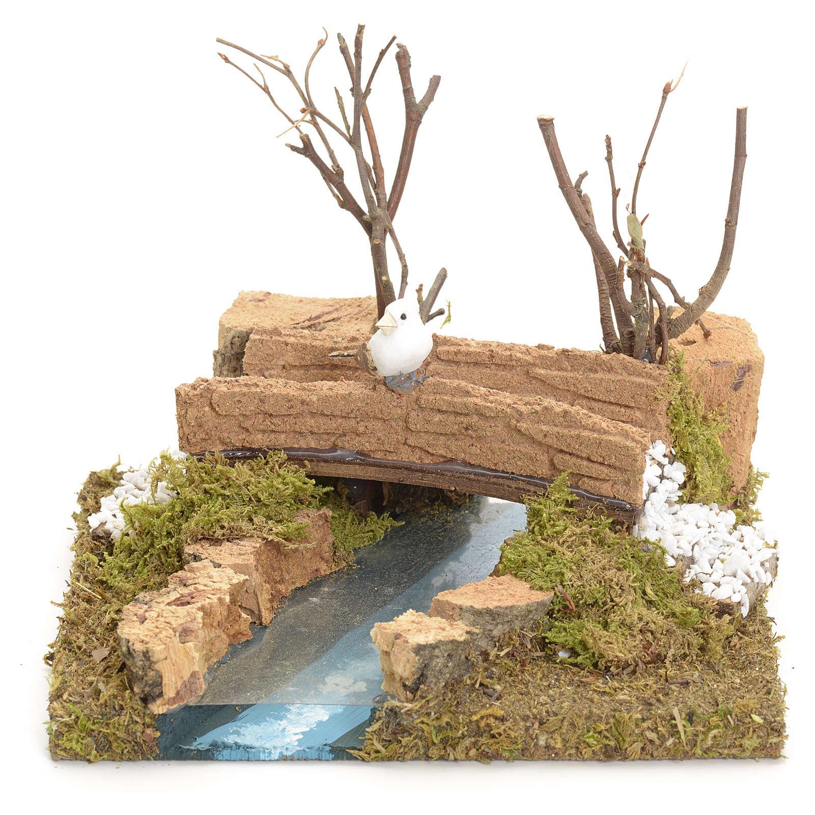 Pont sur ruisseau avec oiseau 13x16x13 cm pour crèche 4