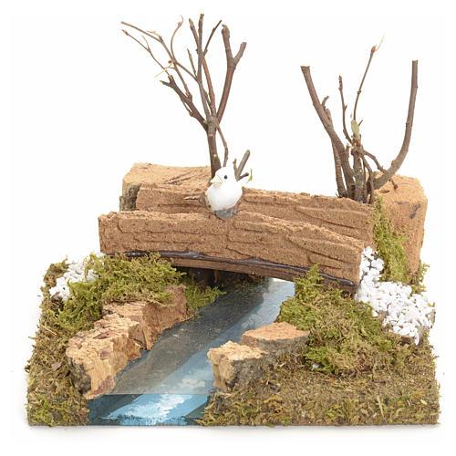 Pont sur ruisseau avec oiseau 13x16x13 cm pour crèche 1
