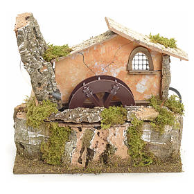Water mill for nativities 18x20x14cm s1