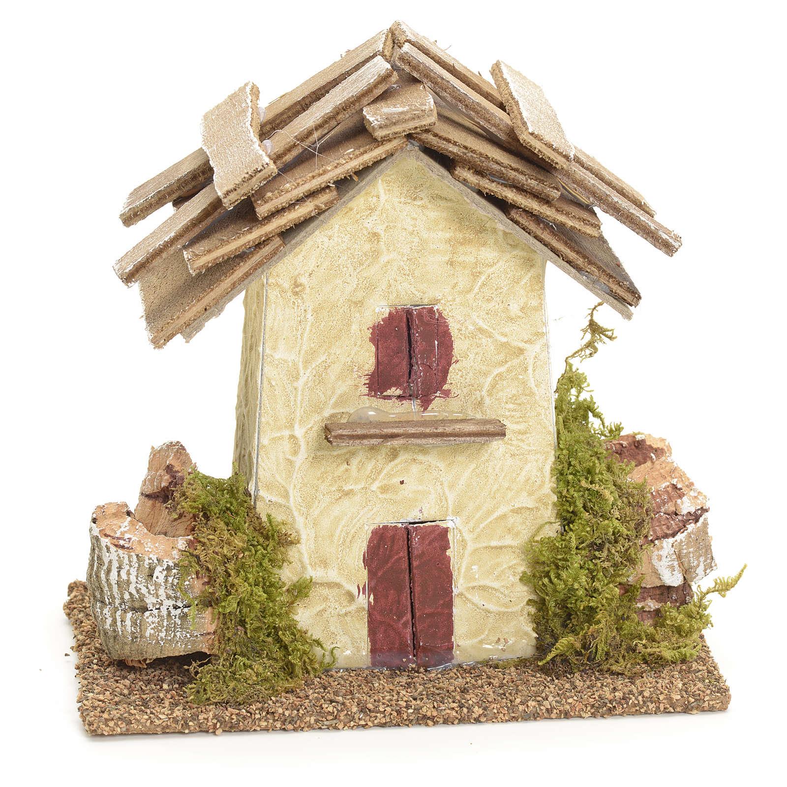 Maison de campagne en miniature avec roches 11x11x6 pour crèche 4