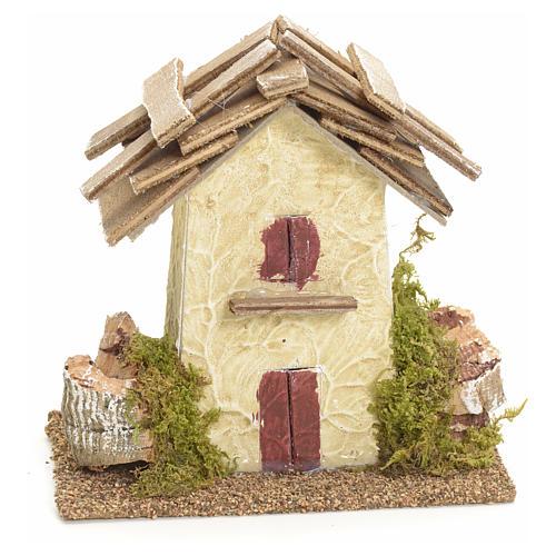 Maison de campagne en miniature avec roches 11x11x6 pour crèche 1