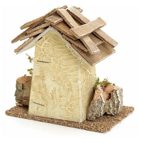 Maison de campagne en miniature avec roches 11x11x6 pour crèche 2