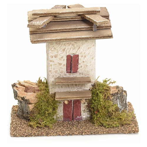 Nativity setting, rustic house with rocks and moss 11x11x6cm 1