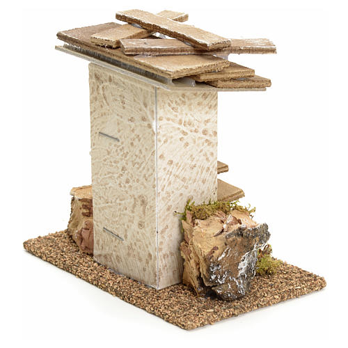 Nativity setting, rustic house with rocks and moss 11x11x6cm 2