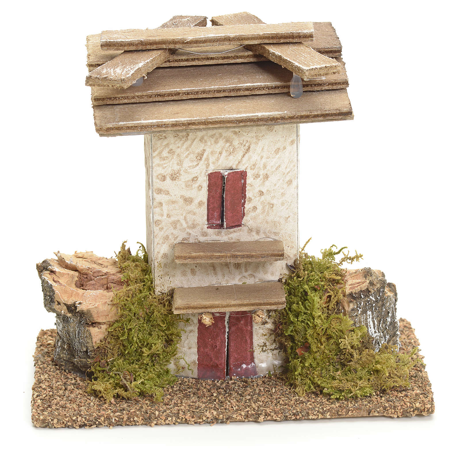 Nativity setting, rustic house with rocks and moss 11x11x6cm 4