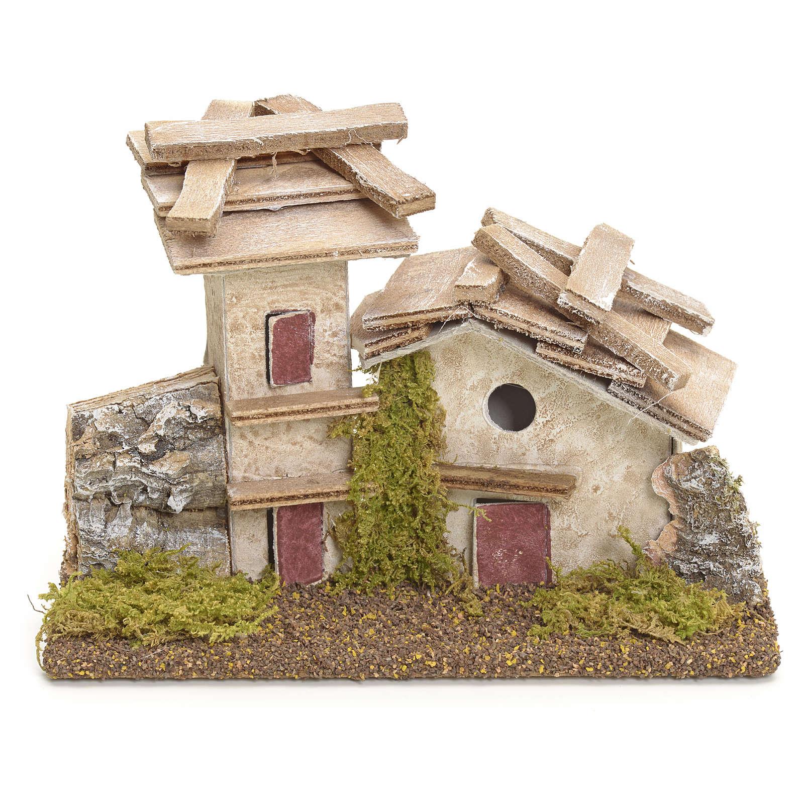 Casa rústica con muro piedra pesebre 11cm altura 4