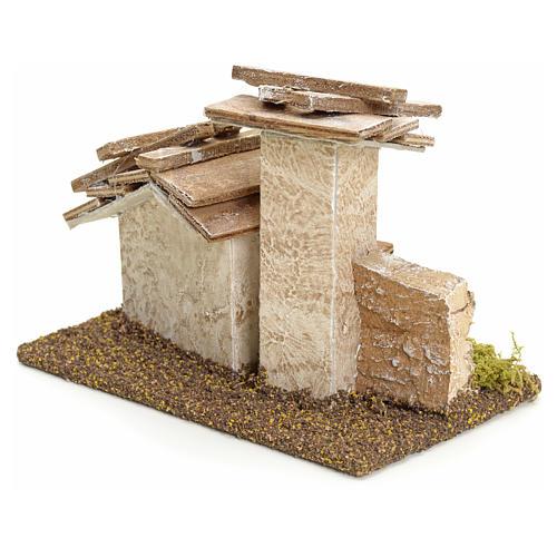 Casa rústica con muro piedra pesebre 11cm altura 2