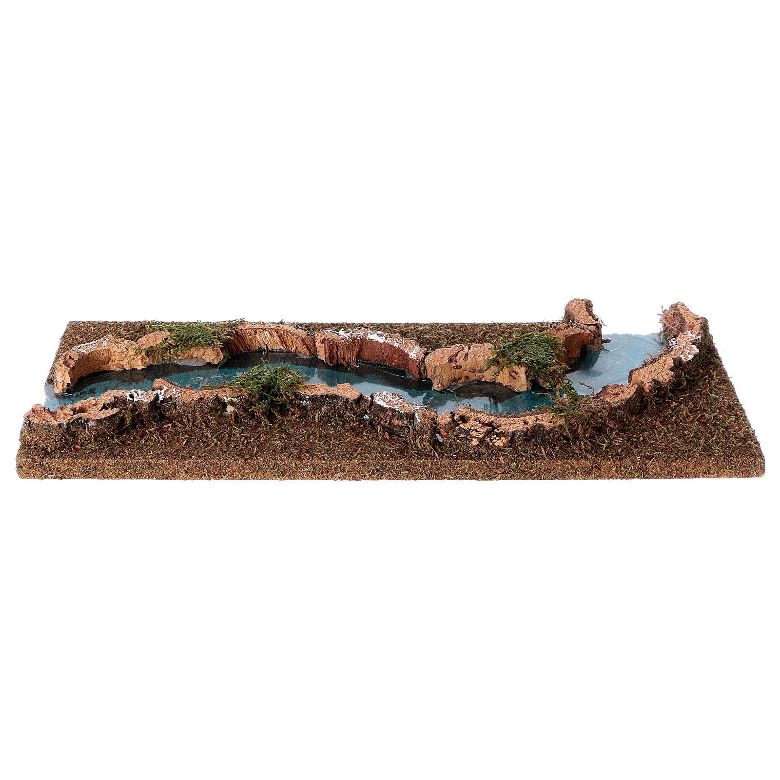 Tratto di fiume presepe 33x14 sughero e legno 4