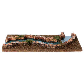 Tratto di fiume presepe 33x14 sughero e legno s2