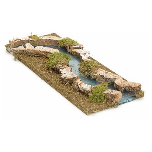 Tratto di fiume presepe 33x14 sughero e legno 2