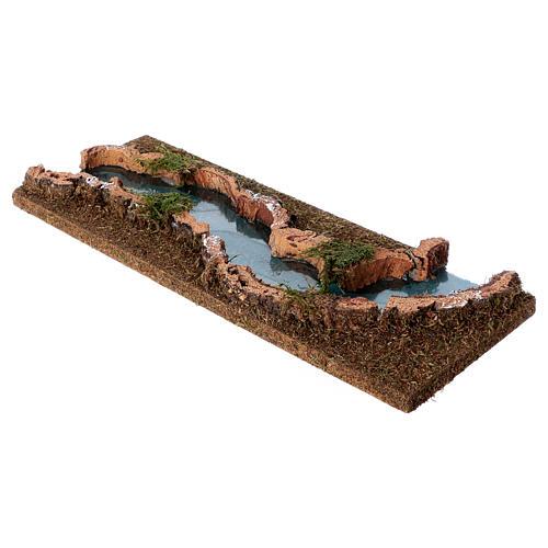 Tratto di fiume presepe 33x14 sughero e legno 3