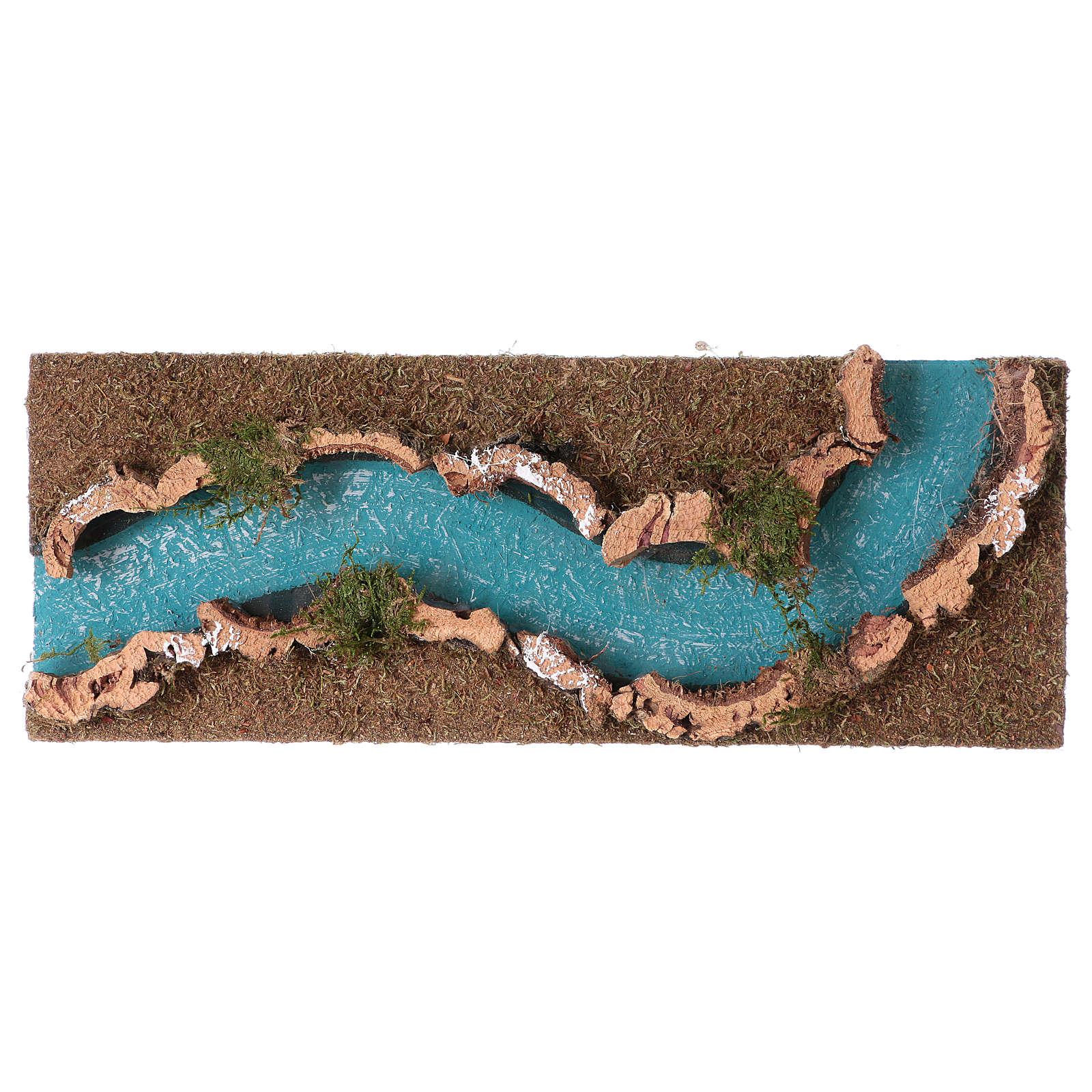 Troço de rio presépio 33x14 cm cortiça e madeira 4