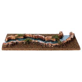 Troço de rio presépio 33x14 cm cortiça e madeira s2
