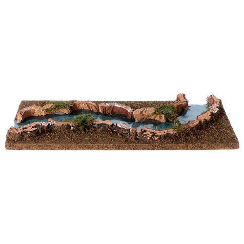 Troço de rio presépio 33x14 cm cortiça e madeira 2