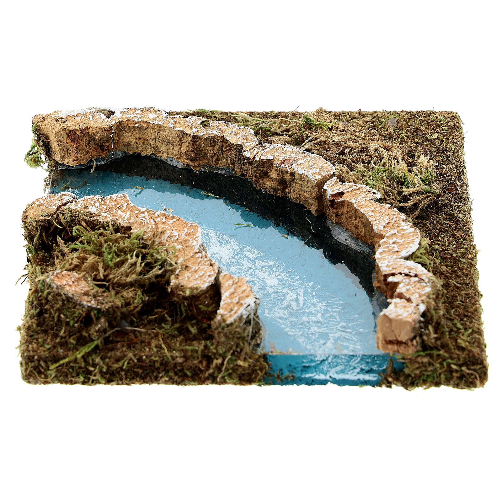 Curva rio para presépio em cortiça 4