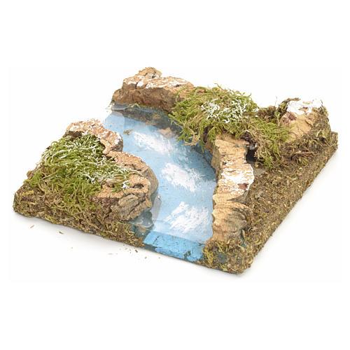 Curva rio para presépio em cortiça 1