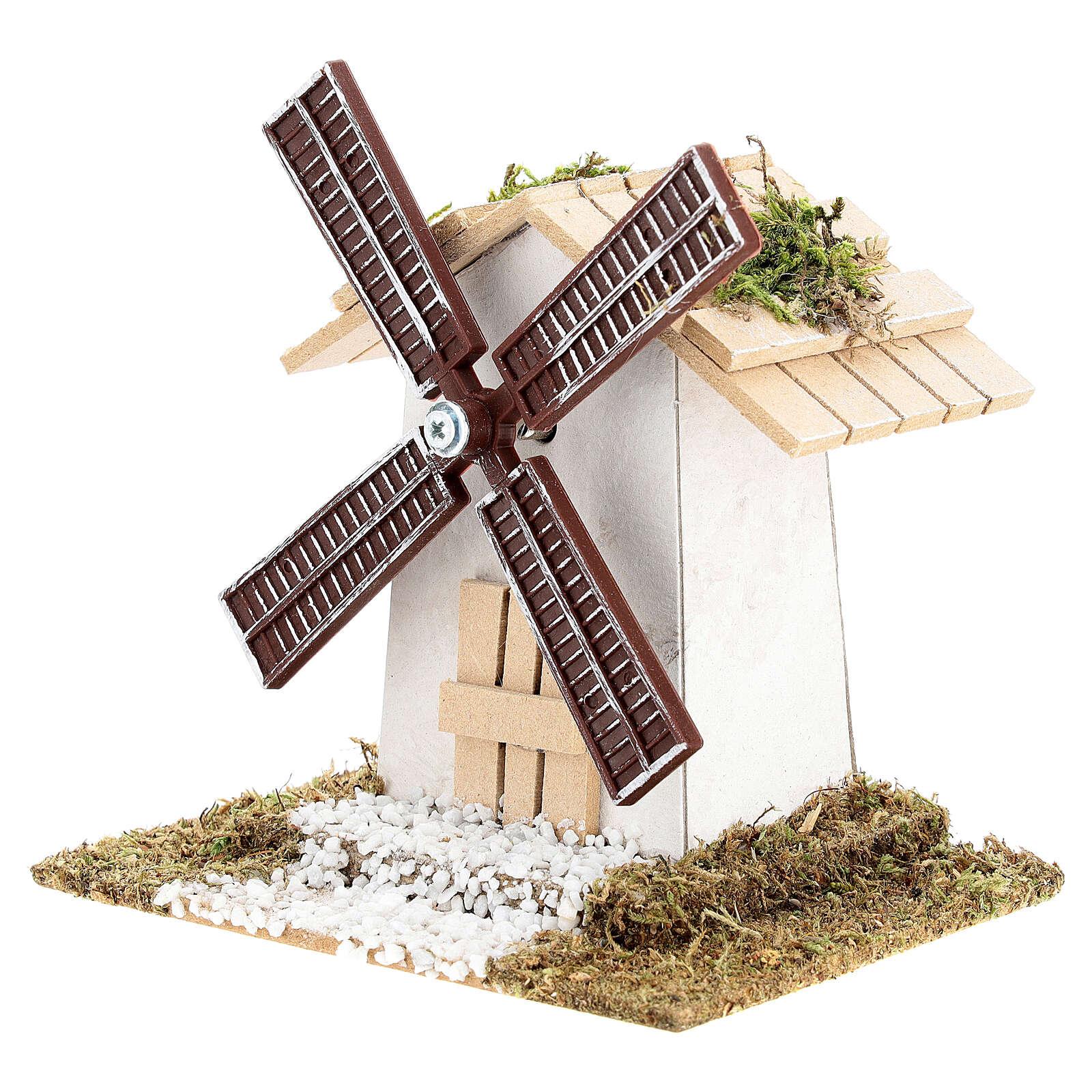 Mulino a vento elettrico per presepio 12x13x9 cm 4