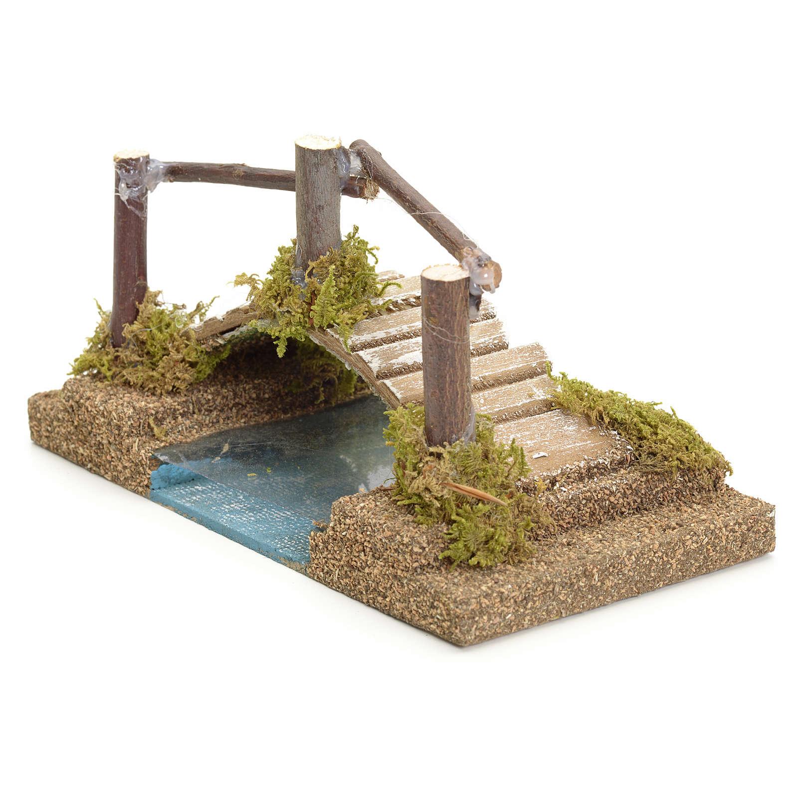 Puente sobre el río para pesebre 9x17x9 4
