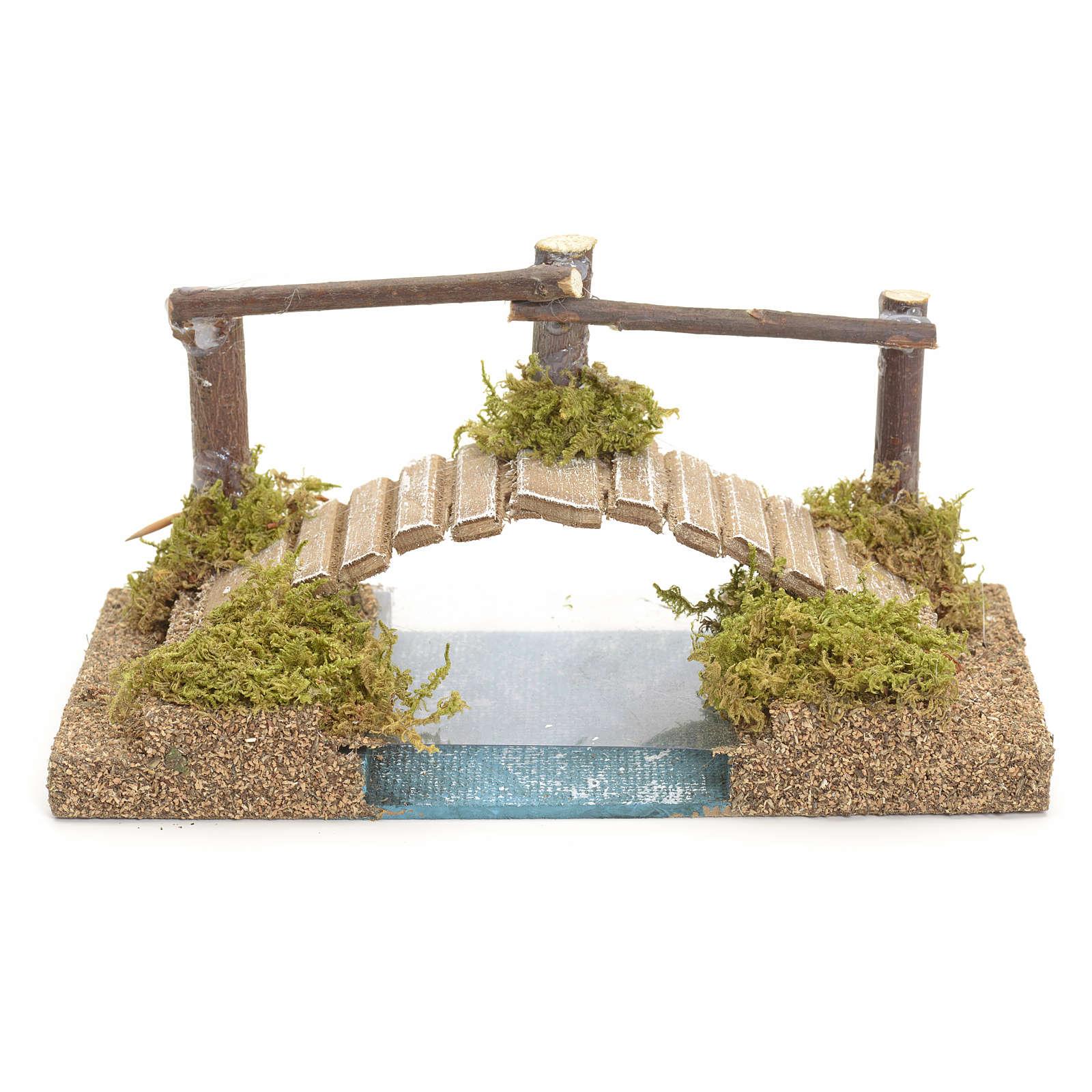 Pont sur ruisseau pour crèche 9x17x9 cm 4