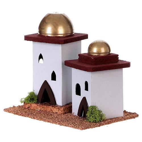 Nativity setting, double Arabian house H14cm 2