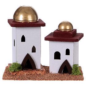 Maisons, milieux, ateliers, puits: Maison arabe double en miniature pour crèche 14cm