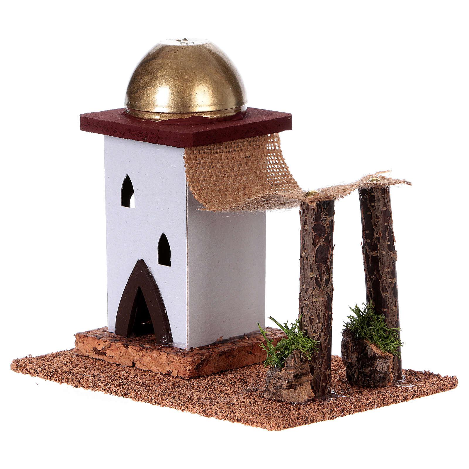 Maison arabe en miniature pour crèche avec tente 14cm 4