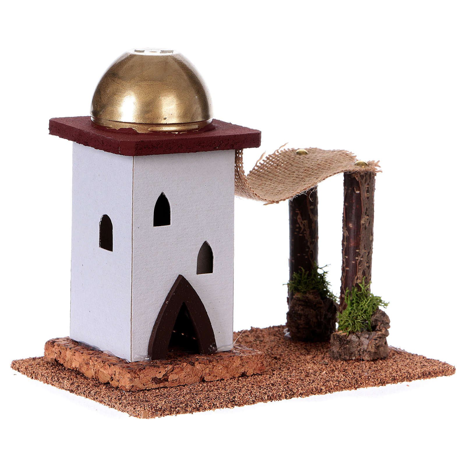 Nativity setting, single Arabian house with curtain H14cm 4