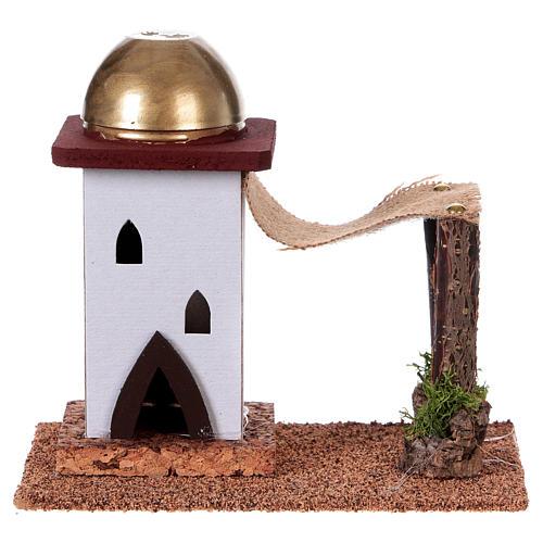Nativity setting, single Arabian house with curtain H14cm 1