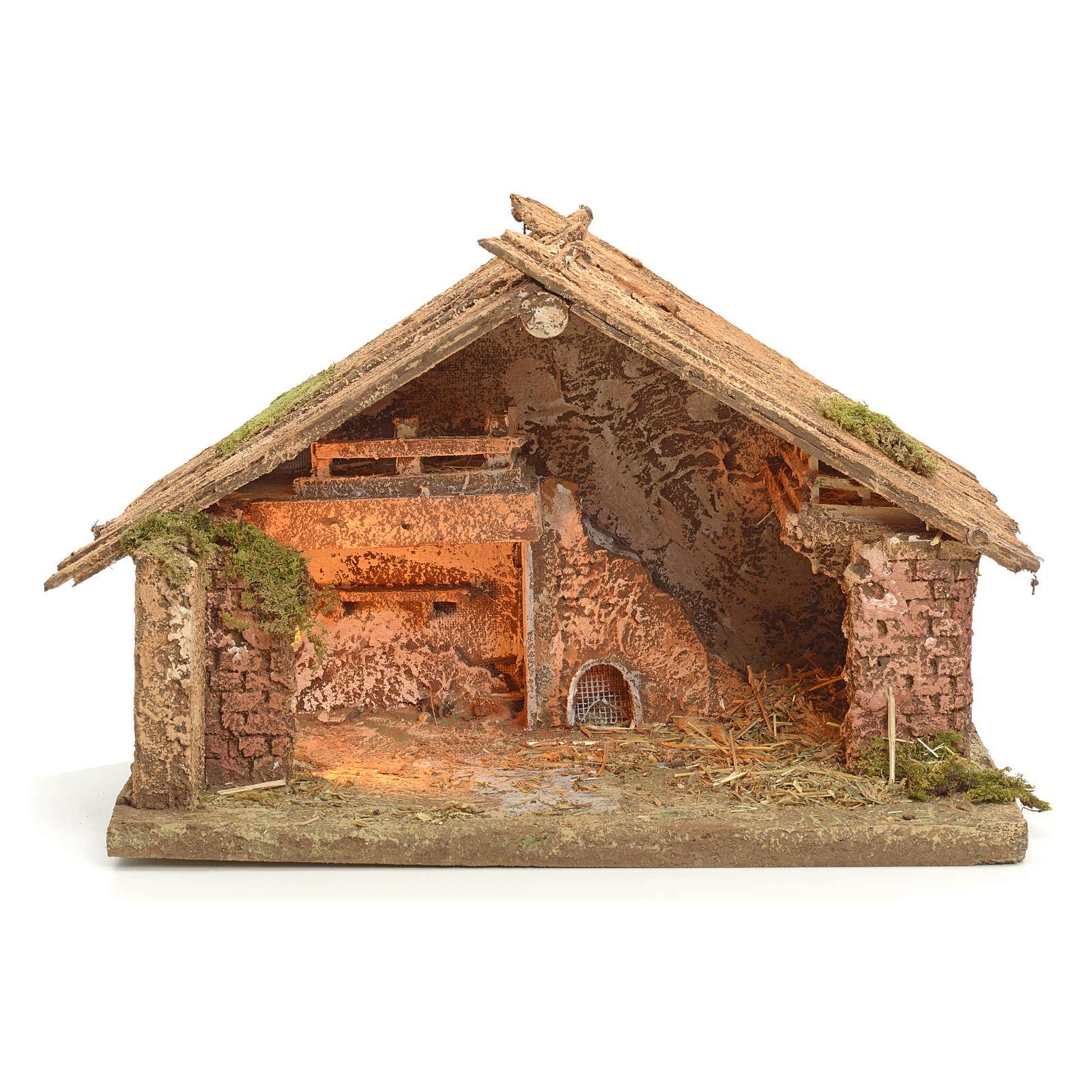Nativity scene illuminated stable in Neapolitan style 43x43x30 4