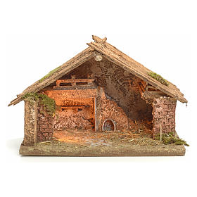 Nativity scene illuminated stable in Neapolitan style 43x43x30 s1